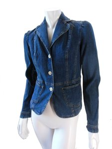 Ann Taylor LOFT Cropped Stretchy Dark Blue Womens Jean Jacket