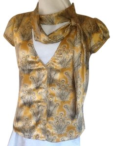 Free People 100% Silk Top Gold Peacock Print