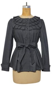 D.F.A. New York Pleated Belted Charcoal Gray Blazer