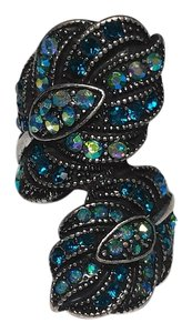 Other Silver Gunmetal Feather Statement Ring Size 7 W/ Blue Crystals J2125