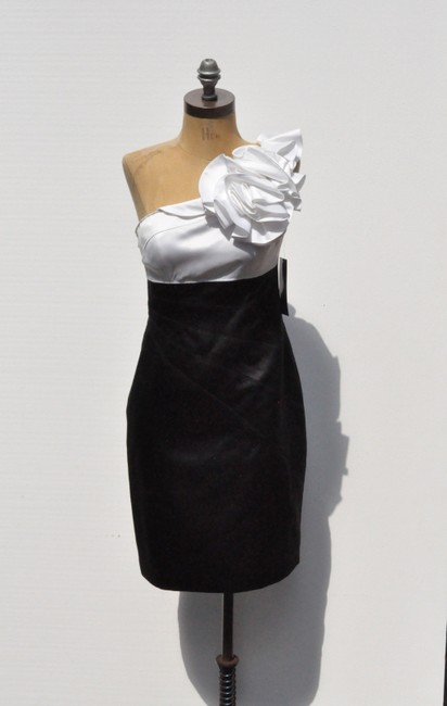 Adrianna Papell One Two-tone Black And White Size 4 Small Dress
