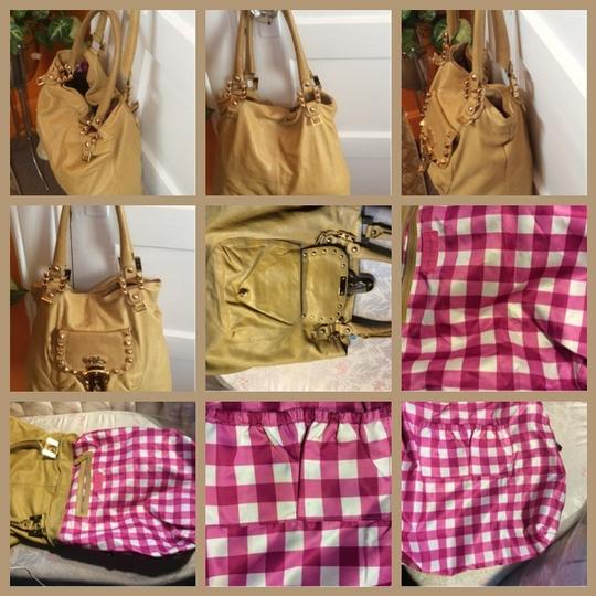 Jessica Simpson Studs On Front Flap & Around Strap Base Pebbled Soft Leather Pink & White Plaid Lining Comfortable Strap Very Roomy And Shoulder Bag