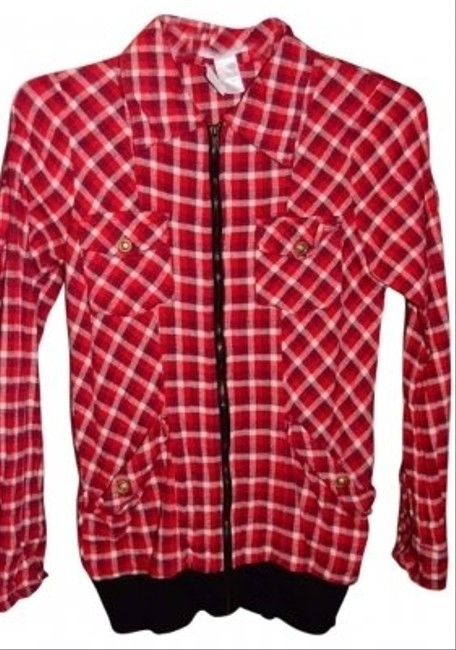"Charlotte Russe Lightweight Flannel Zippered 2 Chest 2 Side Ribbed Cuffs And Waistband 100% Cotton Size M Measurements Are 17"" To Red/White/Check Jacket"