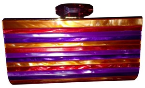 Judith Leiber Acrylic Jewel Bright Satin Multi Purple Red Orange Clutch