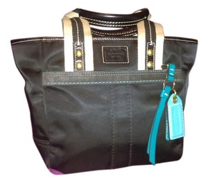 Coach Satin Designer Tote in Teal/black