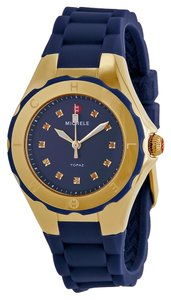 Michele NWT MICHELE TAHITIAN JELLY BEAN PETITE GOLD TONE NAVY WATCH $345