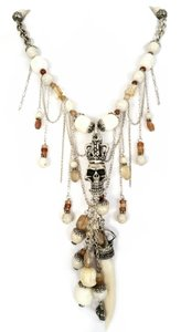 Kinley Sterling Silver Crowned Skull Necklace with White Coral and Brown Aqua Marine