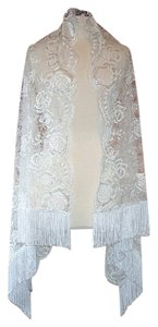 Edward Cromarty Art Design Studio Hibiscus White Silver Lace with Fringe