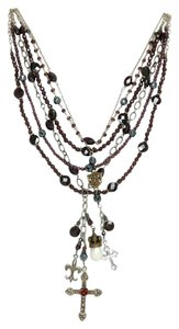 Kinley Sterling silver and Garnet Multi Strand Cross Kinley Necklace