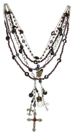 Kinley Sterling silver and Garnet Multi Strand Cross Kinley Necklace Image 0