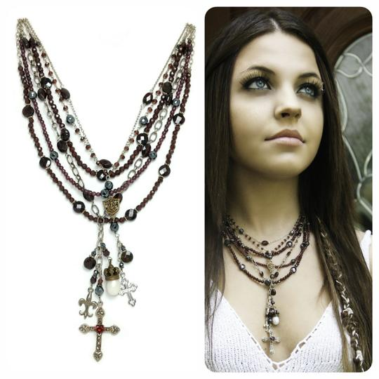 Kinley Sterling silver and Garnet Multi Strand Cross Kinley Necklace Image 1