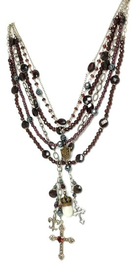 Kinley Sterling silver and Garnet Multi Strand Cross Kinley Necklace Image 2