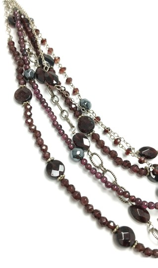 Kinley Sterling silver and Garnet Multi Strand Cross Kinley Necklace Image 4