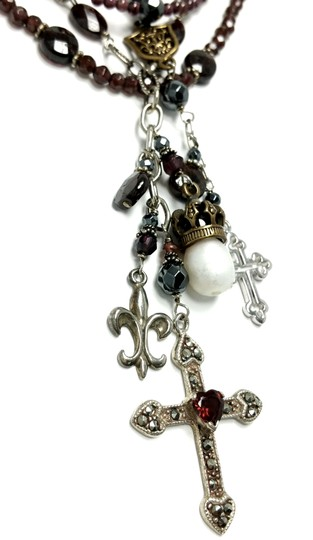 Kinley Sterling silver and Garnet Multi Strand Cross Kinley Necklace Image 5