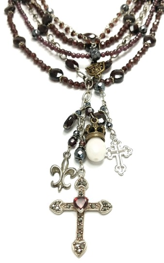 Kinley Sterling silver and Garnet Multi Strand Cross Kinley Necklace Image 6