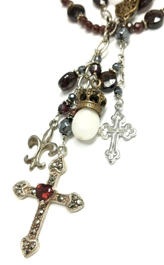 Kinley Sterling silver and Garnet Multi Strand Cross Kinley Necklace Image 7