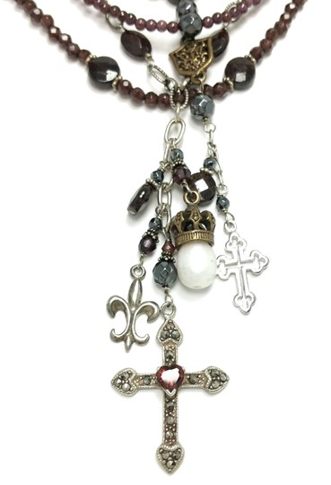 Kinley Sterling silver and Garnet Multi Strand Cross Kinley Necklace Image 8