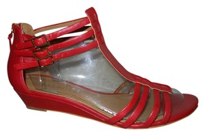 Talbots Leather Wedge Strappy red Sandals
