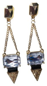 Cato New Cato Dangle Crystal Earrings Gold Tone Silver Black J2127