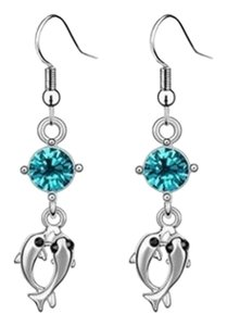Other New 14K White Gold Filled Dangle Dolphin Crystal Earrings J2129
