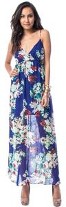 Blue Maxi Dress by Floral Chiffon Maxi