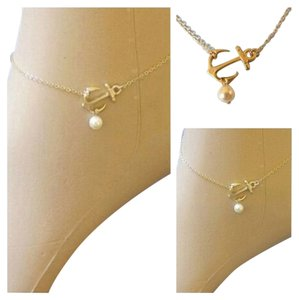Gold Plated Anchor Anklet with Faux pearl