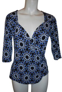 Ideology Tunic Knit Wrap Top black, white, blue & grey print