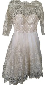 Chi Chi London Lace Gold Retro Tea Length Longsleeve Embroidered Textured Sparkle Party Dress