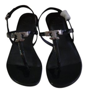 Tory Burch Patent Leather Gunmetal Hardware Black Sandals