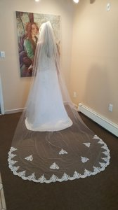 Bridal Cathedral Veil Light Ivory Lace Appliques