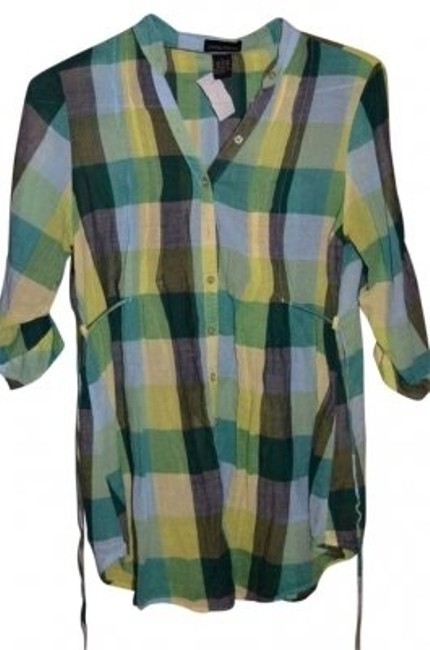 Item - Yellow/Green/Blue Shirt Roll Up Sleeves with Tie At Back Pleat Detailed In Front and Back Cute Sheer Fabric Button-down Top Size 12 (L)