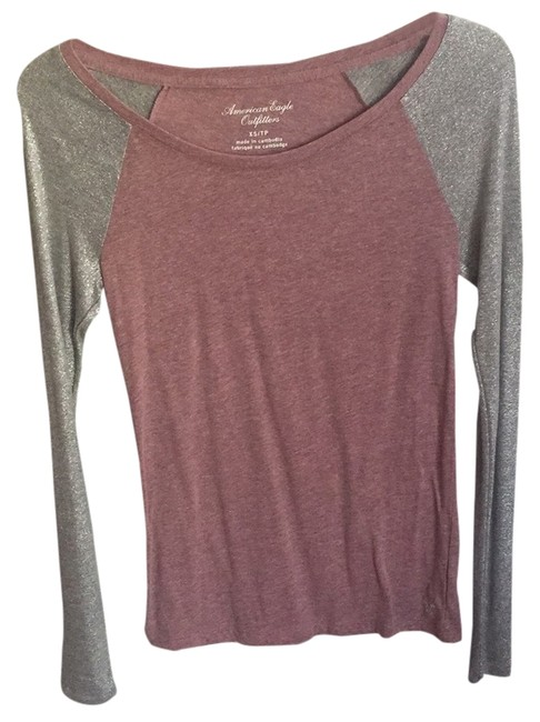 American Eagle Outfitters T Shirt Pink And Silver Metallic