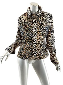 Dolce&Gabbana Dolce & Gabbana Cotton Twill Jean Animal Print Black Brown Jacket