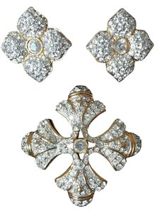 Other Gold--tone and Pave Diamond Costume Clip Earrings and Brooch Jewelry