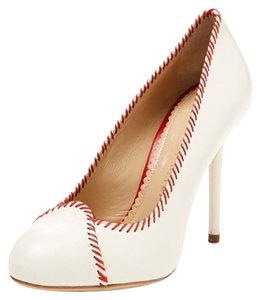 Charlotte Olympia Baseball Red White Leather Rare New White, Red Pumps