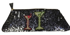 Pierre urbach Black and gray sequins.. Light greenish gold sequins inside martini glasses Clutch