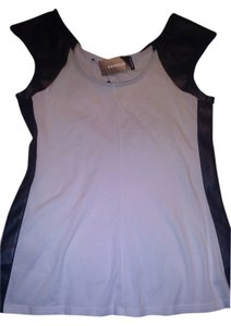 Express Faux Leather Cap Sleeve T Shirt White/Black
