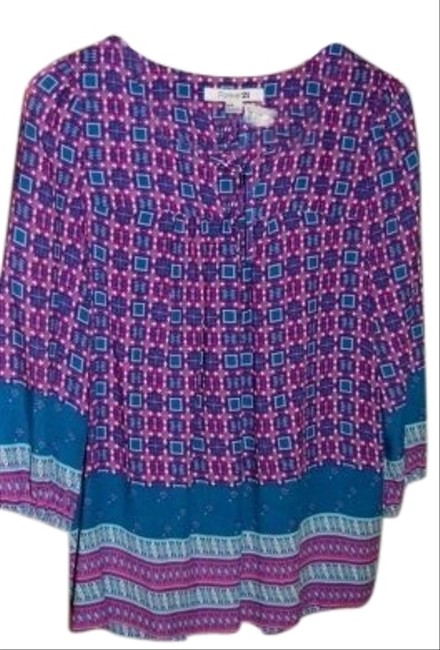 Forever 21 21 Colors Of Fuscia And Teal Round Neck With Tie 3/4 Length Sleeves Top Deep Pink/Teal