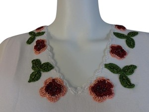 Other Embroidered Flowers Spring Summer Beaded Top NWT