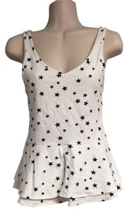 Express Star Print Peplum Top White and Black
