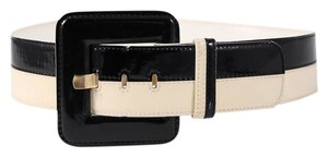 Escada * Ladies Two Tone Square Buckle Cream and White Belt - Size 40 (Large)