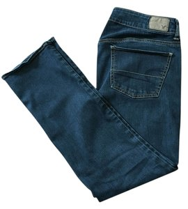 American Eagle Outfitters Short Pettite Rinse Straight Leg Jeans-Dark Rinse