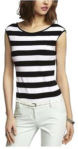 Express Cap Sleeve Striped T Shirt White/Black