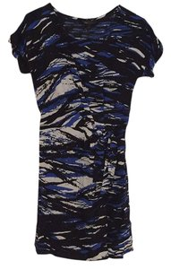 BCBGMAXAZRIA short dress Blue and Multi Print Faux Wrap Knot Color on Tradesy