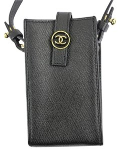 Chanel GCCSL02 Black Caviar Leather CC Case Pouch
