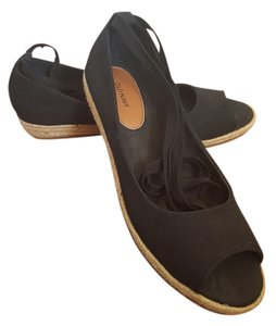 Old Navy Peep Toe Ankle Wrap Espadrille Black Flats
