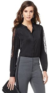 Hal Rubenstein Lace Trim Machine Washable Top Black