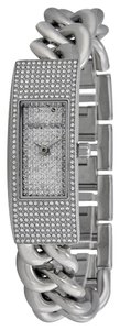 Michael Kors Crystal Pave Silver tone Stainless Steel Chain Link Bracelet Designer Luxury Dress Watch