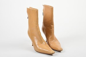 Jimmy Choo Tan Leather Zip Up Beige Boots
