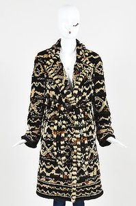 Dennis Basso Sheared Mink Brown Patterned Belted Fur With Scarf Coat